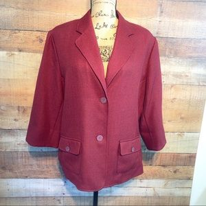 Alfred Dunner Red Button Down Blazer